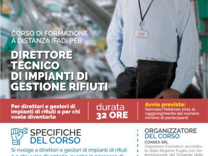 Corso di formazionea distanza (FAD) per Direttore Tecnico di impianti per la gestione dei rifiuti